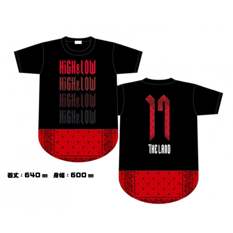 HiGH&LOW THE LAND バンダナTシャツ/BLACK